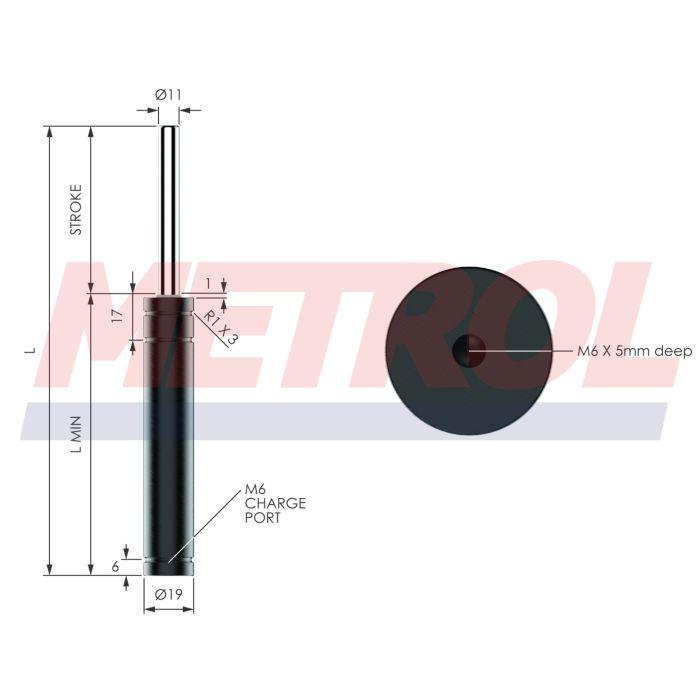 EX0170-125 Nitrogen Gas Spring, 170daN Force
