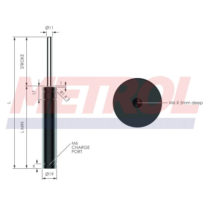 EX0170-100 Nitrogen Gas Spring, 170daN Force