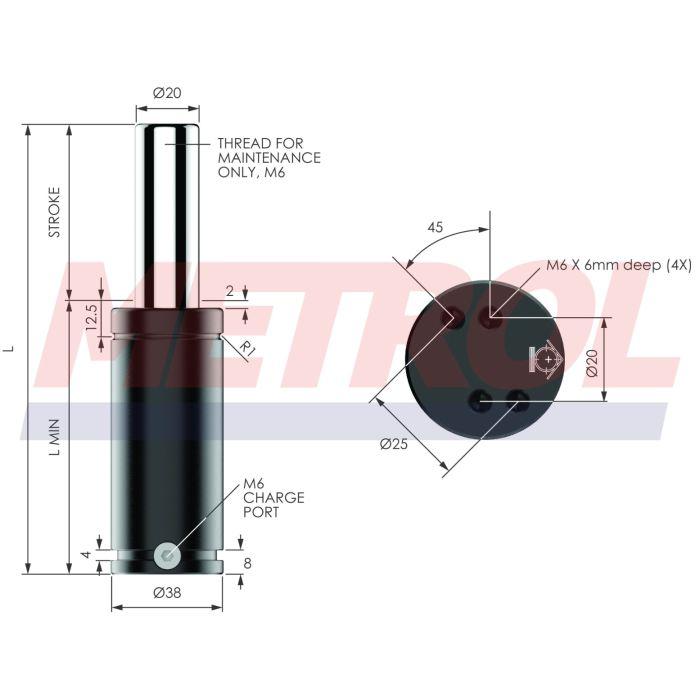EX0500-010 Nitrogen Gas Spring, 500daN Force
