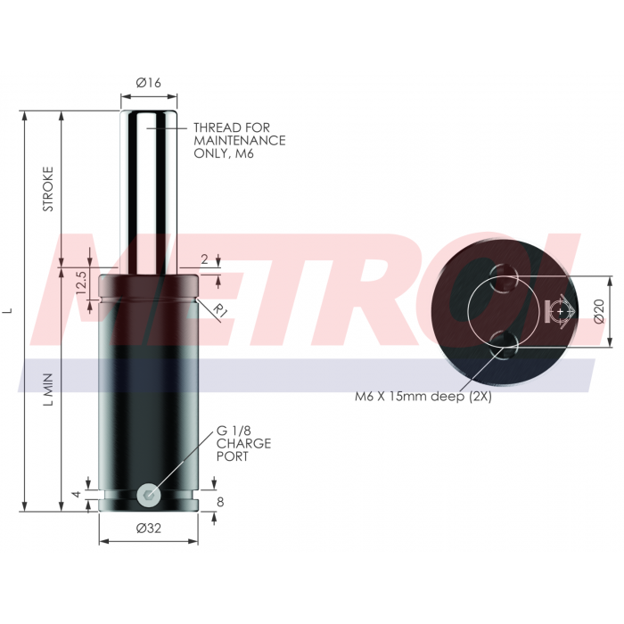 G-EX0360-125 Nitrogen Gas Spring, 360daN Force