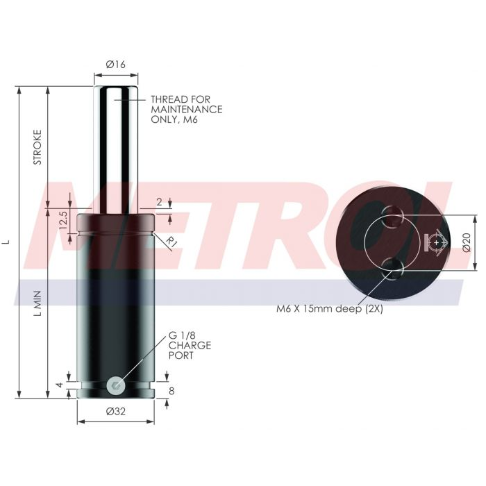 G-EX0360-010 Nitrogen Gas Spring, 360daN Force