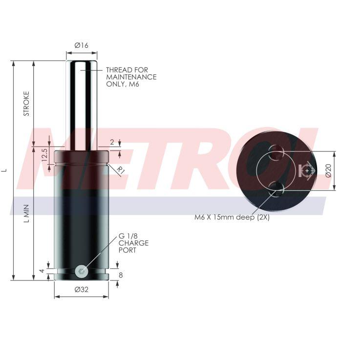 G-EX0360-038 Nitrogen Gas Spring, 360daN Force