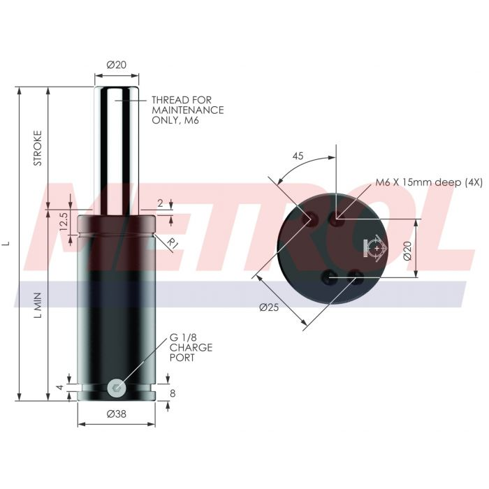 G-EX0500-075 Nitrogen Gas Spring, 500daN Force
