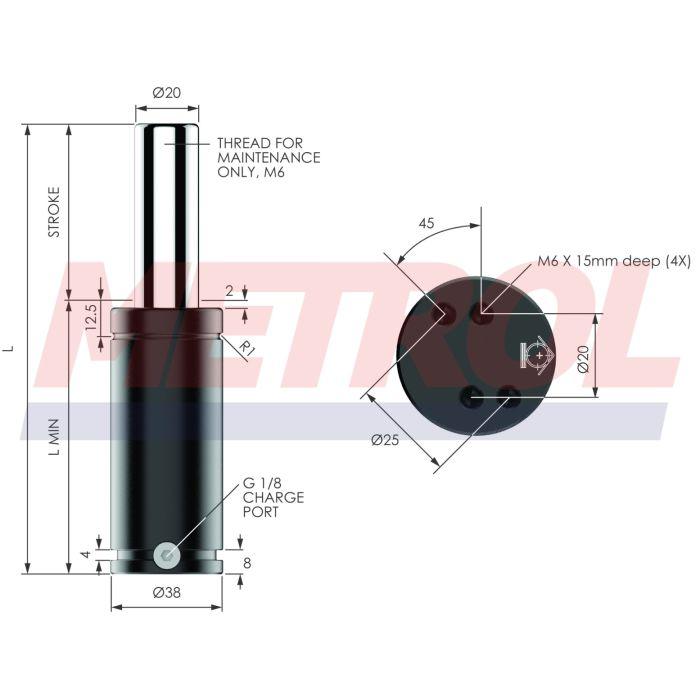 G-EX0500-025 Nitrogen Gas Spring, 500daN Force