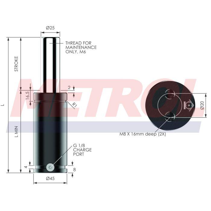 G-EX0750-025 Nitrogen Gas Spring, 750daN Force