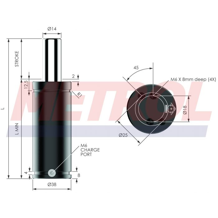Nitrogen Gas Spring - ISNG0250-100