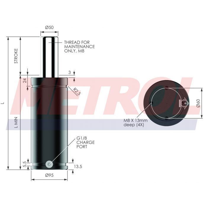 Nitrogen Gas Spring - ISNG3000-125