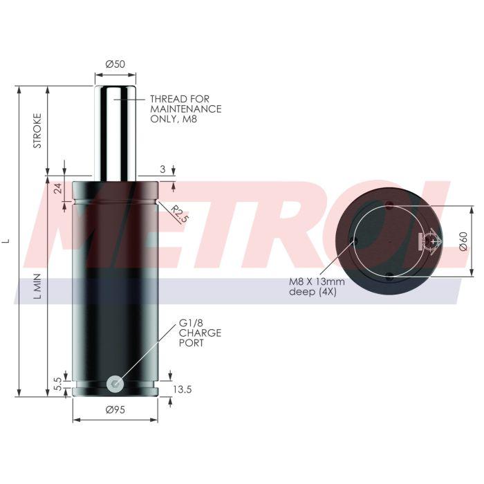 Nitrogen Gas Spring - ISNG3000-160