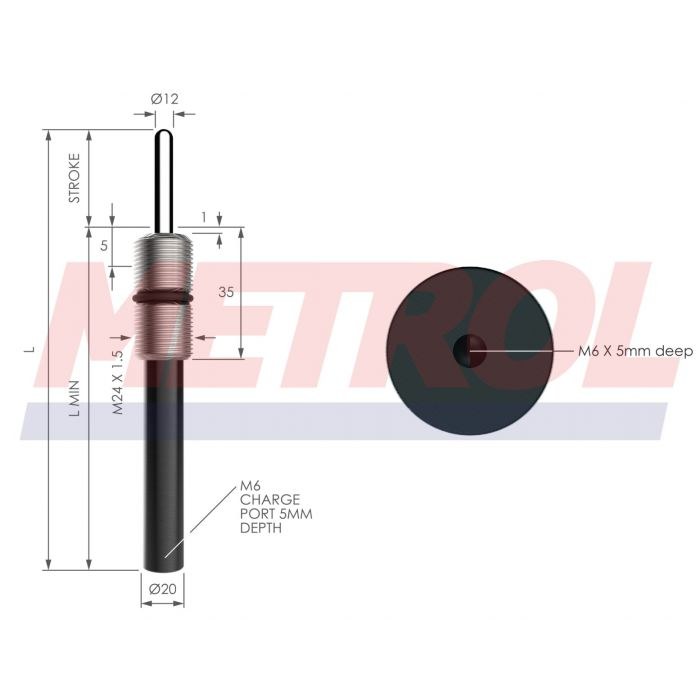 MNE24-1.5-040-010 Ejector Gas Spring, 23daN Force