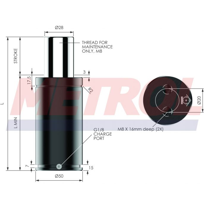 Nitrogen Gas Spring - MX1000-025