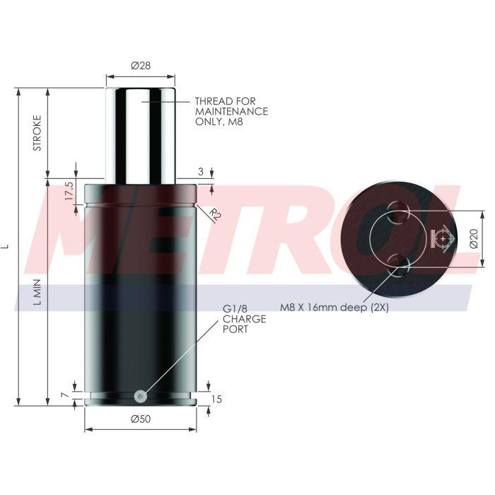 Nitrogen Gas Spring - MX1000-125