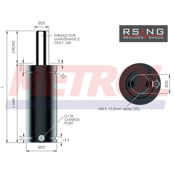 Nitrogen Gas Spring - RSNG0750-050