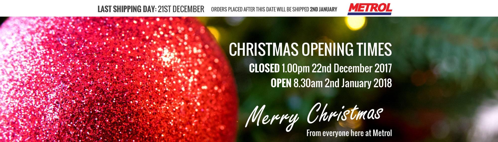 Metrol Springs Christmas Opening Times