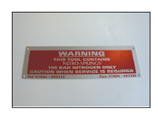 Gas Spring Warning Plate